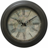 Modern Circular Iron Wall Clock with Map Print by Yosemite Home Decor