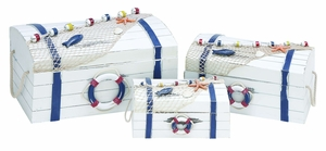 Modern Coastal Wooden Nautical Box in White Finish - Set of 3 Brand Woodland