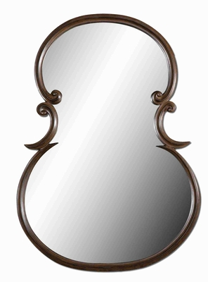 Modern Curvaceous Wall Mirror Art With Sleek Burnished Edges Brand Uttermost
