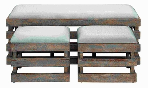 Modern Durable and Long Lasting Wood Linen Stool (Set of 3) Brand Woodland