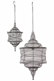 Modern & Exceptional Hanging Metal Lantern Set of Two