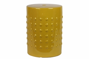 Modern & Fashionable Ceramic Yellow Stool w/ Glossy Finish