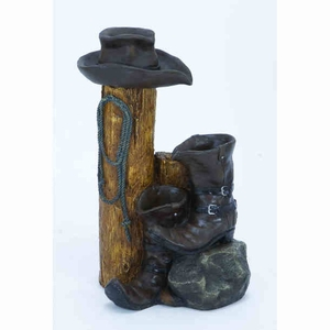 Modern Fiber Glass Cowboy Fountain with Intricate Detail Work Brand Woodland