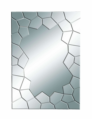 Modern Looking Glass Mirror with Cracked Mirror Edges Brand Woodland