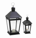 Modern Metal and Glass Lantern with Lean Lines Set of 2 Brand Woodland