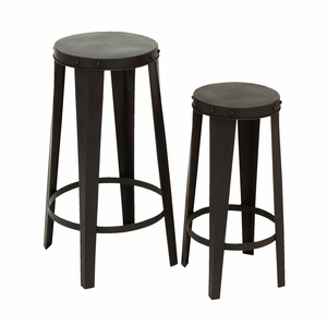 Modern Metal Bar Stool in Black and Polished Finish - Set of 2 Brand Woodland