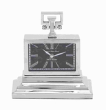 Modern Metal Nickel Plated Table Clock with Three Tiered Base Brand Woodland