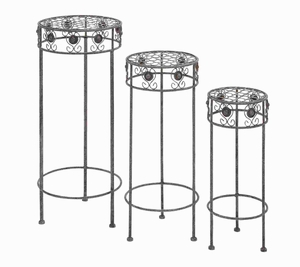 Modern Metal Plant Stand with Silver Metal Polish (Set of 3) Brand Woodland