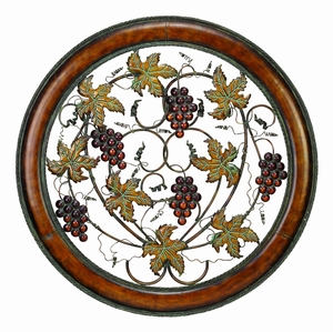 Modern Metal Wall Decor with Wine and Grapes Imitation Detailing Brand Woodland