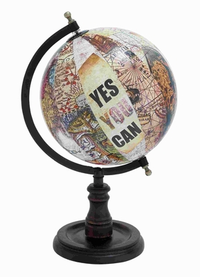 Modern Metal Wood Globe with Sturdy Base And Printed Graphics Brand Woodland