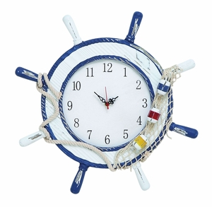 Modern Nautical Wooden Steering Wheel Clock with Coastal Rope Brand Woodland