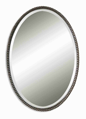 Modern Oval Wall Mirror Art With Brushed Nickle Pearls Brand Uttermost