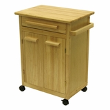 Modern Piece of Kitchen Cart with a Drawer and Cabinet by Winsome Woods