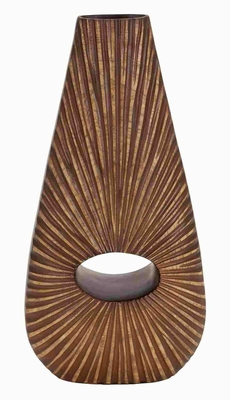 Modern Polystone Vase with Artistic Design in Brown Finish Brand Woodland
