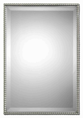 Modern Rectangular Wall Mirror Art With Brushed Nickle Beading Brand Uttermost