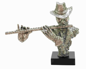 Modern Resin Musician Silver Statue with Flute And Silver Finish Brand Woodland