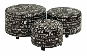 Modern Round Shaped Wooden and Leather Ottoman - Set of 3 Brand Woodland