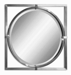 Modern Round Wall Mirror Art With Brushed Nickle Finish Brand Uttermost