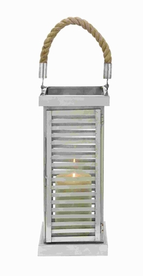 Modern Steel Lantern with Minimalistic Design And Geometric Flair Brand Woodland