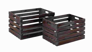 Style Wood Wine Crate Crafted From Solid Wood - Set of 2 - 50219 by Benzara