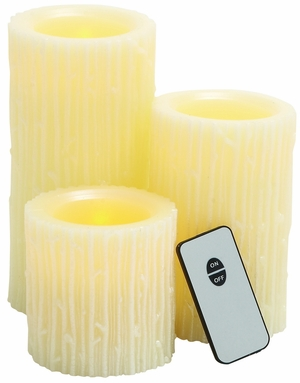 Modern Styled Attractive Led Wax Candle Remote Set/3 by Woodland Import