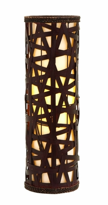 Modern Table Lamp Woven With Natural Wood Strips Brand Woodland