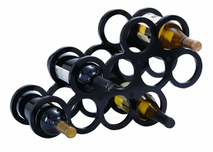 Modern Table Top Wine Rack With 10 Horizontal Slots Brand Woodland
