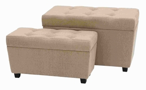 Modern Wood Burlap Ottoman with Rectangular Design (Set of 2) Brand Woodland