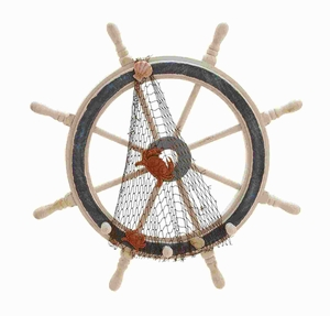Modern Wood Ships Wheel in Meticulously Carved Finial Work Brand Woodland