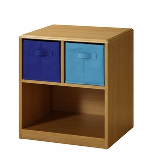 Modern Wooden Nightstand with Pretty Blue Drawers