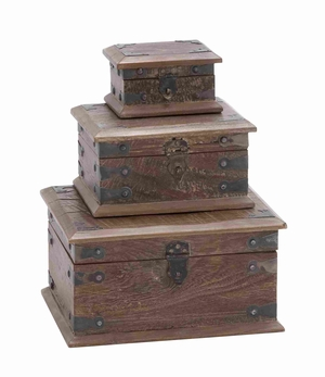 Modern Wooden Reclaimed Box with Storage Space in Set of 3 Brand Woodland