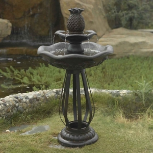 Moderno Tiered Outdoor Fountain with Modern Metal Stand Brand Zest