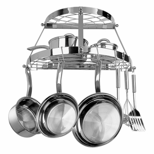 Modish Styled Pot Rack Double Shelf Stainless Steel by Range Kleen