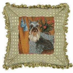 Modish Styled Unique Schnauzer Petit Point Pillow by 123 Creations