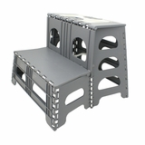 Modish Unique Styled 2 Step Folding Step Stool, Gray by Range Kleen