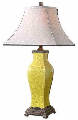Molvena Burnt Yellow Table Lamp with Bronze Detailing Brand Uttermost