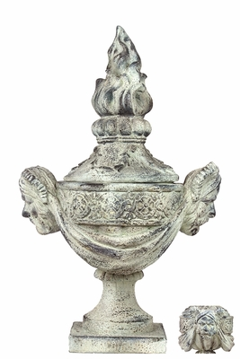 Mongolian Aesthetic Decorative Fiberstone Urn by Urban Trends Collection