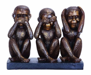 Monkey Speak, See, Hear No Evil Sculpture In Polystone Cast Brand Woodland