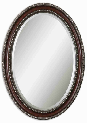 Montrose Distressed Wall Mirror with Dark Mahogany and Gray Wash Brand Uttermost