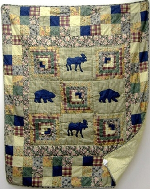 Moose Medley Handmade Quilt Throw Brand American Hometex