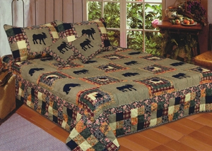 Moose Medley Quilt King Size 108 Inch X 90 Inch Patchwork Quilts by American Hometex