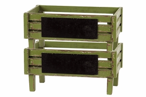 Moss Green Wooden Stylish Storage Units in a Set of Two