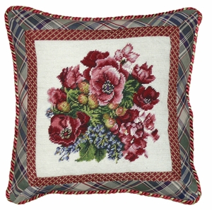 "Most Lovely Pansy Needlepoint Pillow 18x18"" by 123 Creations"
