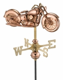 Motorcycle Garden Weathervane - Polished Copper w/Garden Pole by Good Directions
