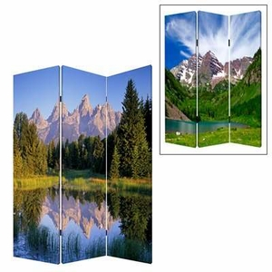 Mountain Peaks 3 Panel Screen with Artistic Detailing on Canvas Brand Screen Gem