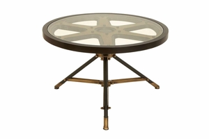 Movie Reel Metal Glass Table, 32 Inch x 20 Inch Brand Woodland