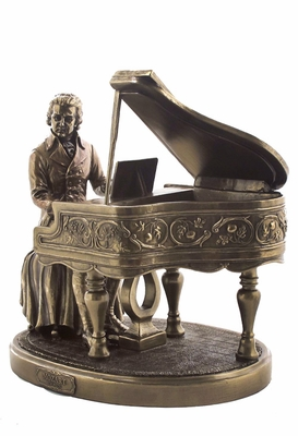 Mozart Statue with Legged Piano with Cold Cast Bronze Construction Brand Unicorn Studio