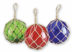 Multi Colored Glass Float with Rope and Glossy Texture - Set of 3 Brand Woodland