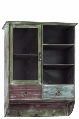 Multi Hued Vintage Wooden Wall Cabinet