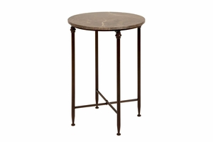 26 Inches High Metal Marble Table Brown - 53804 by Benzara